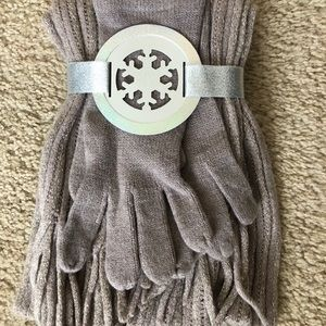 New York & Company Gray Scarf & Gloves Set